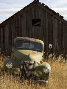 Abandoned Pick-Up Truck in Front of an Old Shed, Marysville, Montana by Pete Ryan