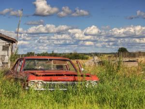 An Abandoned Red Car from the 1970S Sits in a Field by Pete Ryan