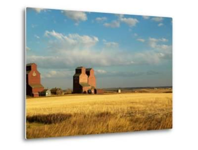 Grain Elevators Stand in a Prairie Ghost Town, Rowley, Alberta, Canada