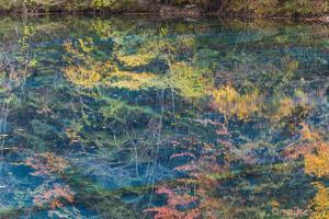Autumn Reflections and Lake, Jiuzhaigou NP, Sichuan Province, China by Peter Adams