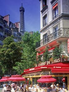 Cafe and Eiffel Tower, Paris, France by Peter Adams
