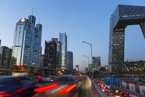 Central Business District and Cctv Building at Dusk, Beijing, China by Peter Adams