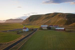 Church and Small Group of Houses Near Vik, Iceland by Peter Adams