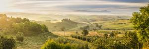 Countryside View with Farmhouse and Hills, Tuscany (Toscana), Italy by Peter Adams