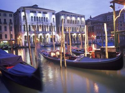 Gondolas at Night, Venice, Italy