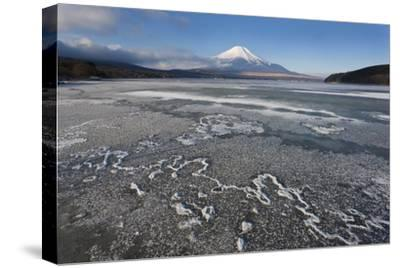 Ice on Lake Yamanaka with Snow-Covered Mount Fuji in Background, Japan