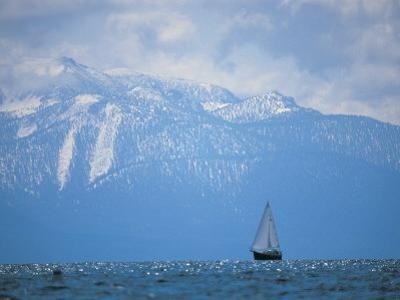 Lake Tahoe, CA, Scenic of Mountains and Boat
