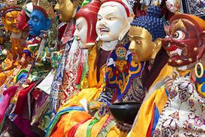 Masked Dancers at Festival, Keno Gompa Monastery, Tagong, China by Peter Adams
