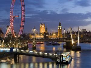 Millennium Wheel and Houses of Parliament, London, England by Peter Adams