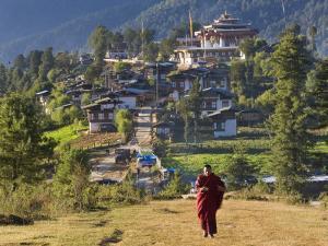 Monk Leaving Gangtey Dzong, and Village, Phobjikha Valley, Bhutan by Peter Adams