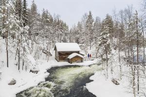 Myllykoski Rapids and Old Mill, Oulankajoki NP, Kuusamo, Finland by Peter Adams