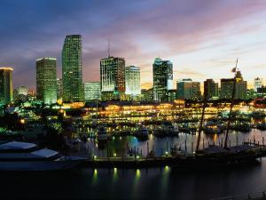 Night Skyline of Miami, Florida by Peter Adams