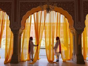 Palace Attendents, Chandra Mahal (City Palace), Jaipur, Rajasthan, India. by Peter Adams
