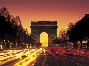 Paris, France, Arc De Triomphe at Night by Peter Adams