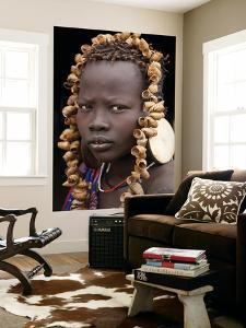 Portrait of Mursi Girl, Omo Valley, Ethiopia by Peter Adams