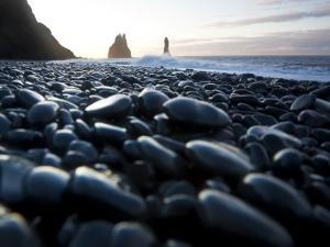 Reynisdrangar Rock Formations and Black Beach, Vik, Iceland by Peter Adams