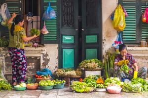 Street Vegetable Seller, Hanoi, Vietnam by Peter Adams