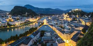 The Hohensalzburg Fortress, Church and Cathedral, at Dusk, Salzburg, Austria by Peter Adams