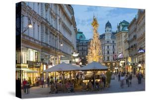 The Plague Column, Graben Street at Night, Vienna, Austria by Peter Adams