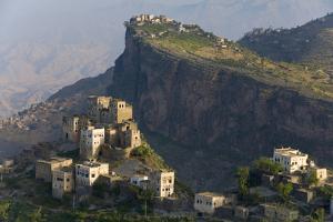 Yemen, Al Mahwit Province, Al Karn, Mountain Village, Elevated View by Peter Adams