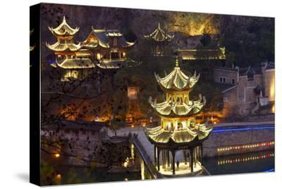 Zhenyuan Illuminated at Dusk, Zhenyuan, Guizhou, China