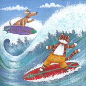 Cat and Dog Surfing by Peter Adderley
