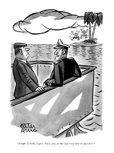 """Couple of kooks, I guess. They carry on like that every time we pass here?"" - New Yorker Cartoon by Peter Arno"