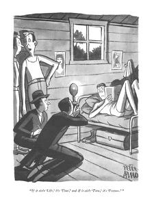 """If it ain't 'Life,' it's 'Time,' and if it ain't 'Time,' it's 'Fortune.'"" - New Yorker Cartoon by Peter Arno"