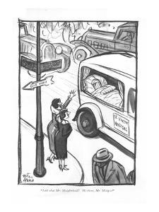 """Isn't that Mr. Moiglethoid? Hi there, Mr. Moig?"" - New Yorker Cartoon by Peter Arno"