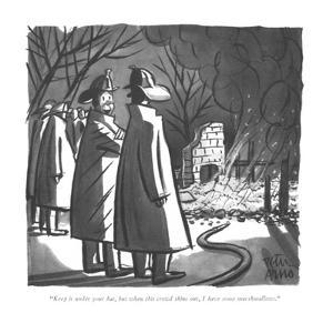 """Keep it under your hat, but when this crowd thins out, I have some marshm?"" - New Yorker Cartoon by Peter Arno"