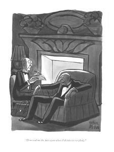"""Now read me the part again where I disinherit everybody."" - New Yorker Cartoon by Peter Arno"