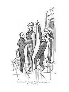 One of the New Bachelor Hotels Measures a Guest for a Single Room - New Yorker Cartoon by Peter Arno
