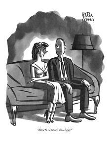 """Want to sit on this side, Lefty?"" - New Yorker Cartoon by Peter Arno"