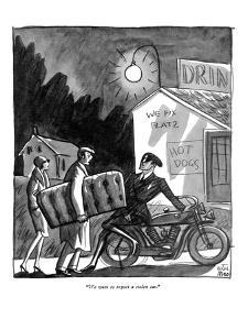 """We want to report a stolen car."" - New Yorker Cartoon by Peter Arno"