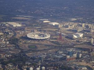 Aerial View of the 2012 Olympic Stadium, Stratford, East End, London, England, United Kingdom, Euro by Peter Barritt