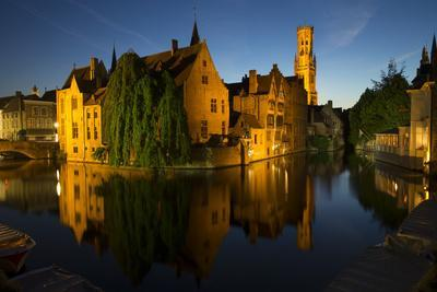 Evening reflections on Rozenhoedkaai, with Belfry (Belfort) Tower, UNESCO World Heritage Site, Brug