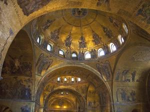Interior of St. Mark's Basilica with Golden Byzantine Mosaics Illuminated, Venice by Peter Barritt