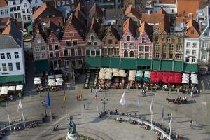Markt Square seen from the top of Belfry Tower(Belfort Tower), UNESCO World Heritage Site, Bruges,  by Peter Barritt