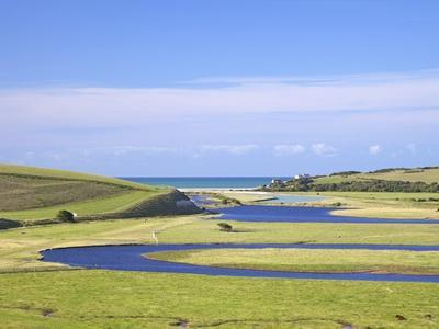 River Cuckmere Meets English Channel, Cuckmere Haven, East Sussex, South Downs Nat'l Park, England