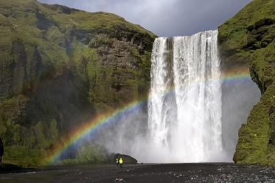 Skogafoss Waterfall with Rainbow in Summer Sunshine, South Coast, Iceland, Polar Regions