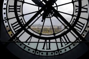View Through Clock Face from Musee D'Orsay Toward Montmartre, Paris, France, Europe by Peter Barritt