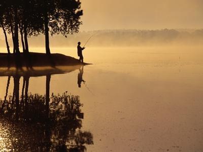 Man Fishing at Lake by Peter Beck