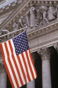 New York Stock Exchange with the US Flag, Manhattan, New York, USA by Peter Bennett