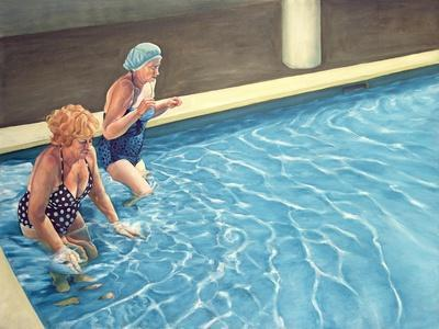 Two Ladies Getting into a Swimming Pool, 2000