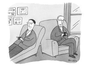 A man is on the couch in his therapist's office and they are texting each ? - New Yorker Cartoon by Peter C. Vey