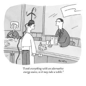 """I cook everything with an alternative energy source, so it may take a whi?"" - New Yorker Cartoon by Peter C. Vey"