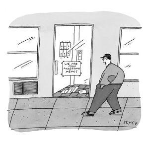 Passerby in baseball cap sees sign in apartment building entrance that rea? - New Yorker Cartoon by Peter C. Vey