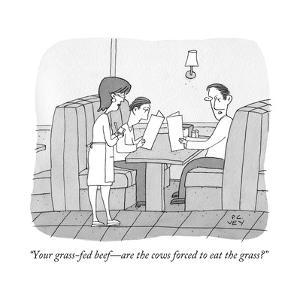 """Your grass-fed beef?are the cows forced to eat the grass?"" - New Yorker Cartoon by Peter C. Vey"