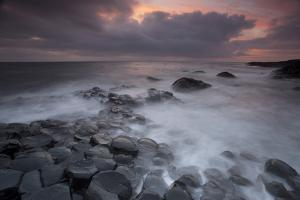 Giants Causeway at Dusk, County Antrim, Northern Ireland, UK, June 2010. Looking Out to Sea by Peter Cairns