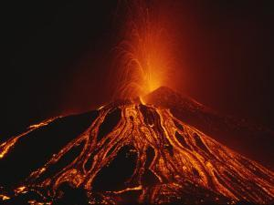 A Fiery New Cone on Mount Etna Upstages Sicilys Night Sky in 2002 by Peter Carsten